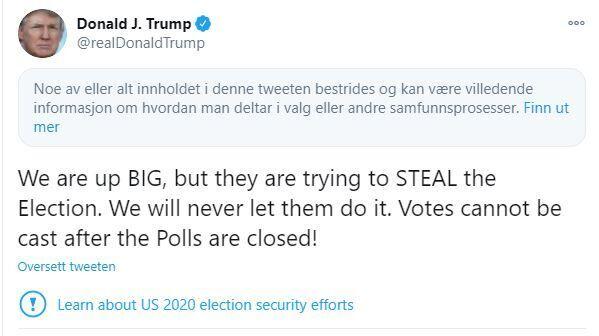 Twitter skjuler Trump-melding – VG Nå: Presidentvalget i USA 2020