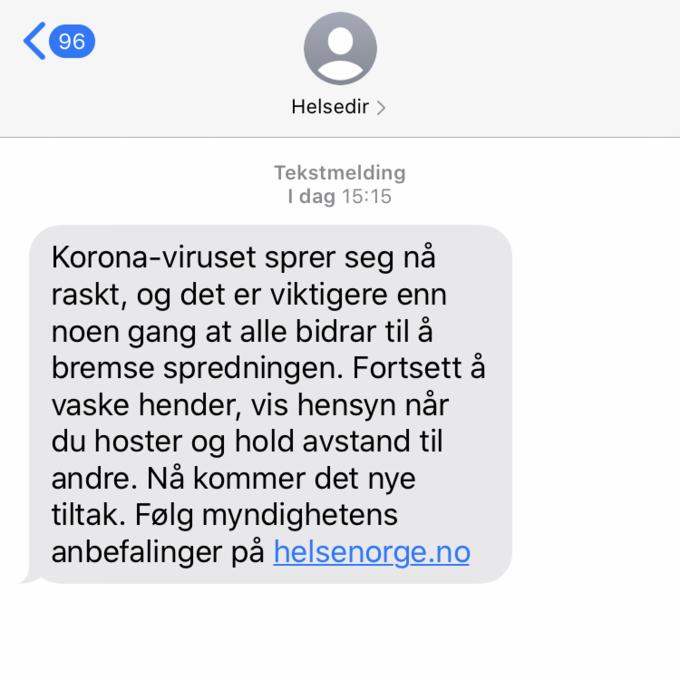 Helsedirektoratet Sender Ut Sms Til Alle Vg Na Nyhetsdognet