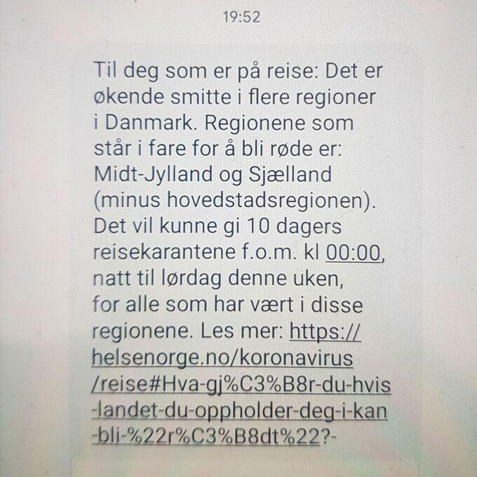 Helsedirektoratet Med Sms Til Danmark Og Sverige Turister Vg Na Coronaviruset