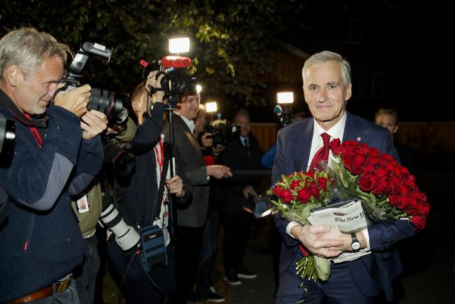 Ap-leder Jonas Gahr Støre på valgkvelden.