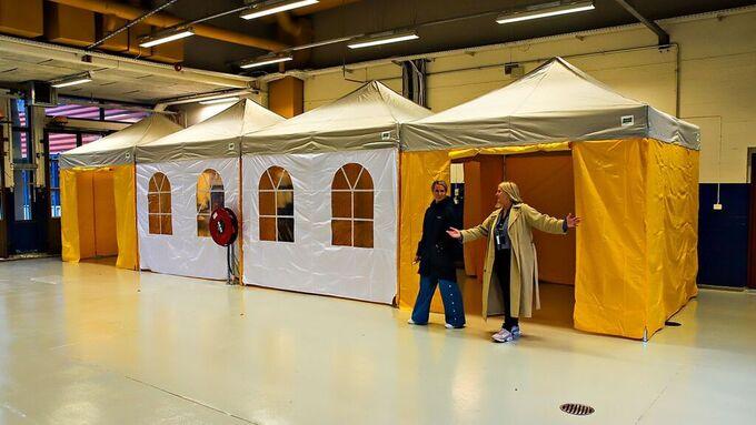 BIldet er fra kommunens forberedelser til å ta den nye drop in-stasjonen på Spelhaugen i Fyllingsdalen i bruk.