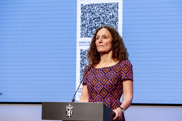 Camilla Stoltenberg på regjeringens pressekonferanse onsdag.