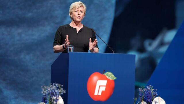 Avtroppende Frp-leder Siv Jensen holder tale på Frps landsmøte lørdag formiddag.