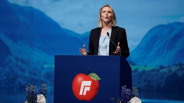 Sylvi Listhaug angrep rødgrønne partier for symbolske klimatiltak på landsmøtet søndag.