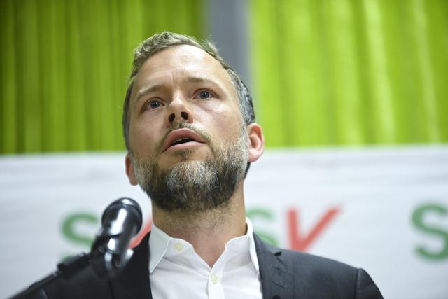 Partileder Audun Lysbakken under hans tale til landsstyret lørdag på Thon Hotel Opera i Oslo. Foto: Annika Byrde / NTB