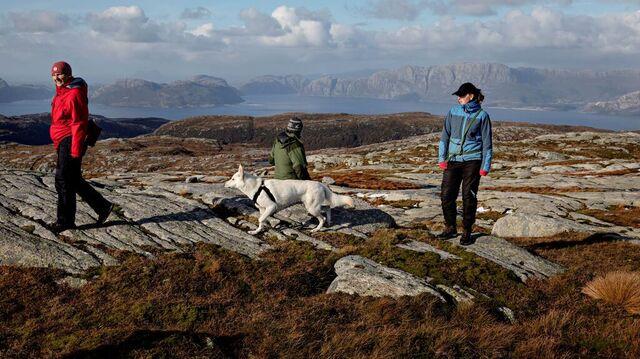 Tre motstandere av vindkraftverk på dette fjellet over Sognefjorden, fra v. Wenche Midthun, ordfører Hallvard Oppedal og Amalia Høydal.