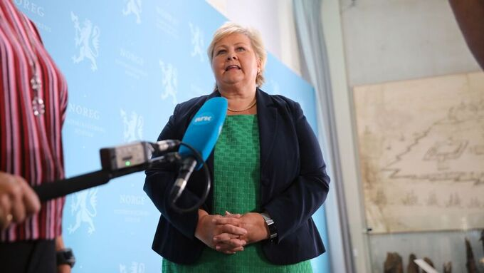 Statsministeren på torsdagens møte med pressen.