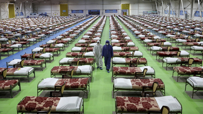Et provisorisk sykehus med 2000 senger satt opp nord i den iranske hovedstaden Teheran.
