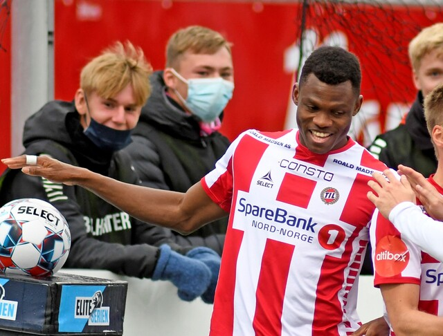 SCORTE: Ebiye Moses var på scoringslisten for TIL 2 mot Bodø/Glimt 2.