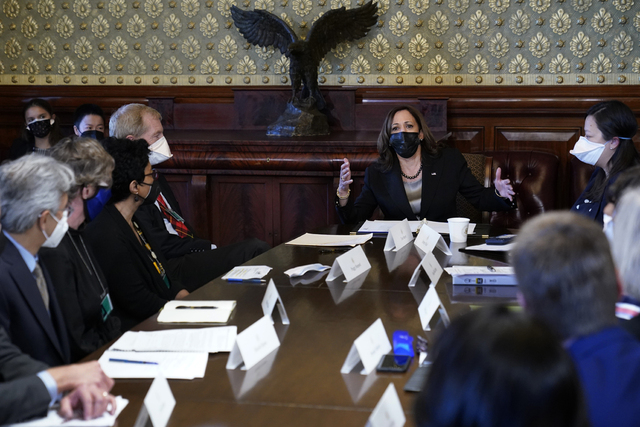Visepresident Kamala Harris deltok under møtet hvor presidentens stab strever med å gjøre tilpasninger i den amerikanske klimaplanen for å kutte i landets utslipp. Foto: Susan Walsh/ AP/ NTB