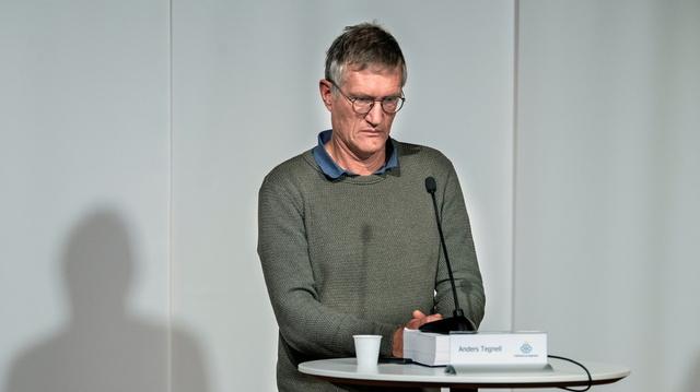 Statsepidemiolog Anders Tegnell deltar på pressekonferanse om situasjonen i Sverige.