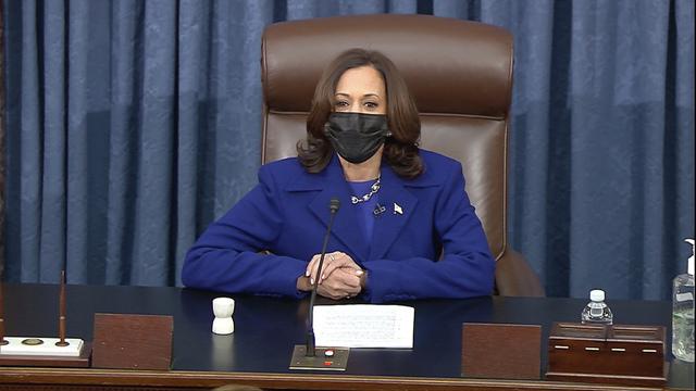 Kamala Harris tok sin plass som leiar for Senatet onsdag.