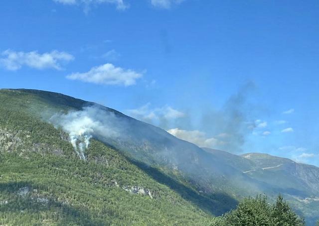 En skogbrann har blusset opp igjen i Årheimsfjellet ved Stryn i Vestland. Det er tredje gangen det brenner der i løpet av en uke. Foto: Julianne Fjell / NTB