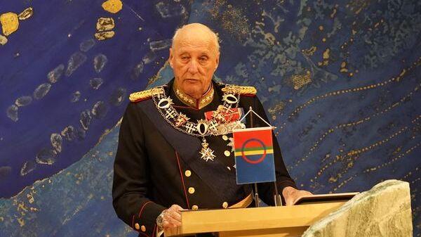 Kong Harald, her avbildet under åpningen av Sametinget onsdag.