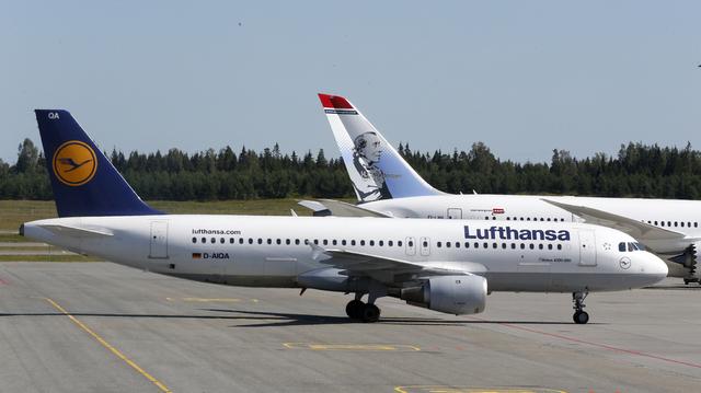 En Airbus fra Lufthansa på Oslo lufthavn. Foto: Vidar Ruud / NTB