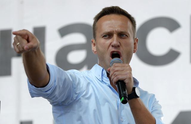Regimekritikeren Aleksej Navalnyj taler her til en folkemengde i Moskva sommeren 2019.