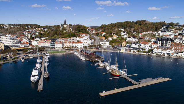 Grimstad i september 2018. Det er påvist flere smittetilfeller i kommunen.