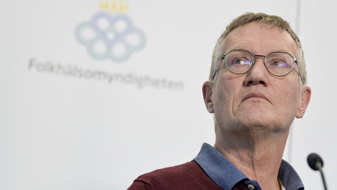 Statsepidemiolog Anders Tegnell, under onsdagens pressträff med Folkhälsomyndigheten.