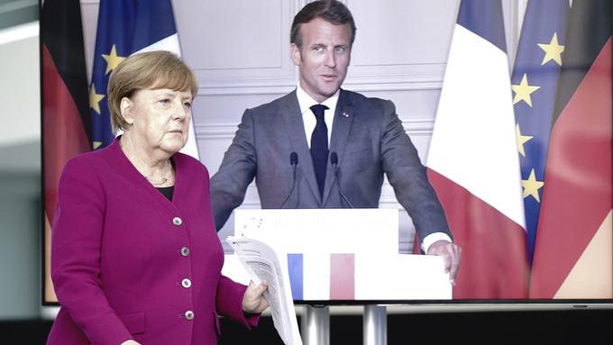 Angela Merkel representerte Tyskland og Emmanuel Macron (via video) Frankrike. De foreslår et nytt EU-fond for å dempe skadevirkningene av koronapandemien.