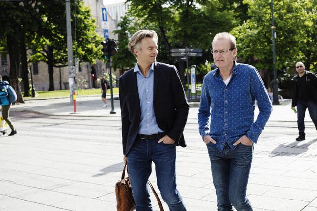 Ove Grønnevik (t.h.) og Magnar Øyhovden, henholdsvis eier og konserndirektør i Media Bergen
