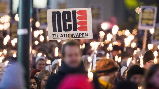 Fakkeltoget da Den internasjonale kampanjen for forbud mot atomvåpen (ICAN) fikk Nobels fredspris i 2017.