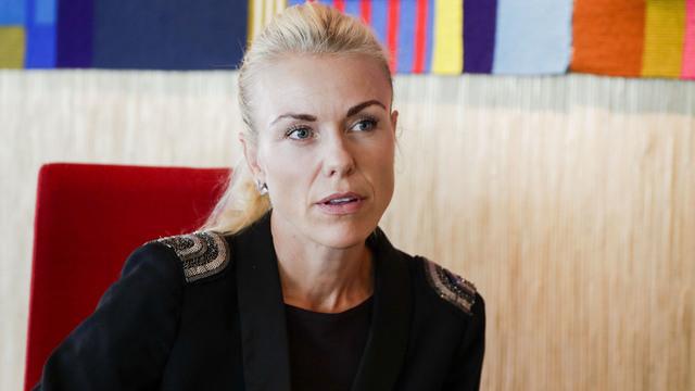 Kommuneoverlege i Norde Follo, Kerstin Anine Johnsen Myhrvold, under pressekonferanse om koronasituasjonen.