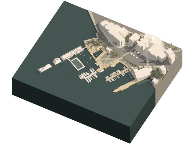 Ny molo må til for å kunne bygge småbåthavn og flytende basseng. Ytterst på moloen er restauranten tegnet inn, delvis under vann.