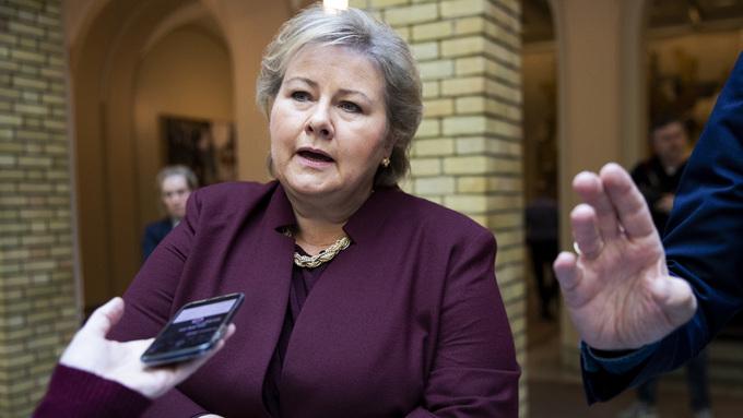 Statsminister Erna Solberg (H) svarte på spørsmål fra pressen etter onsdagens spørretime på Stortinget.