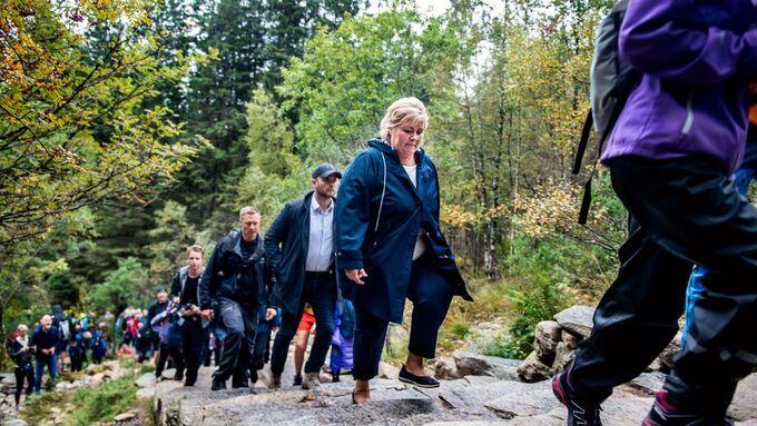 Fra statsminister Erna Solbergs åpning av Oppstemten på Ulriken i 2018.