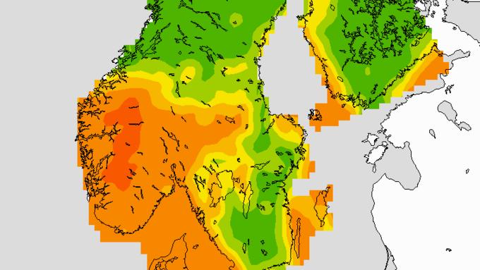 Slik blir UV-indeksen på fredag. Hele pinsehelgen blir det sterk stråling på Vestlandet.