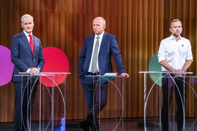 Mange kranglesaker ligger på bordet dersom det blir regjeringsforhandlinger mellom Ap-leder Jonas Gahr Støre, Sp-leder Trygve Slagsvold Vedum og SV-leder Audun Lysbakken. Foto: Håkon Mosvold Larsen / NTB