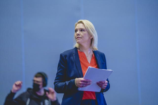 Frp-leder Sylvi Listhaug på partiets digitale landsmøte i mai. Foto: Stian Lysberg Solum / NTB