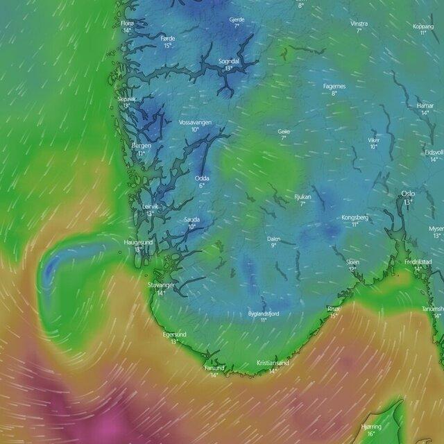 Det ligger et lavtrykk utenfor Haugesund som gjør at vinden kan bli sterk.