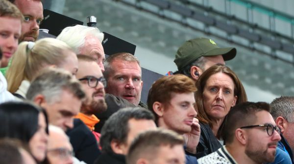 Norway's top soccer agent Jim Solbakken sits between Brann's general manager Vibeke Johannesen and the chairman of the board, Birger Grevstad jr.  under Åsane-Sogndal.