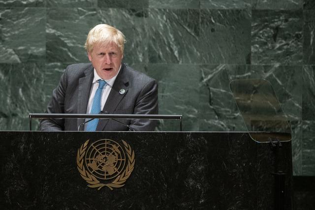 Storbritannias statsminister Boris Johnson talte til FNs hovedforsamling onsdag kveld. Foto: Eduardo Munoz/Pool Photo via AP/NTB