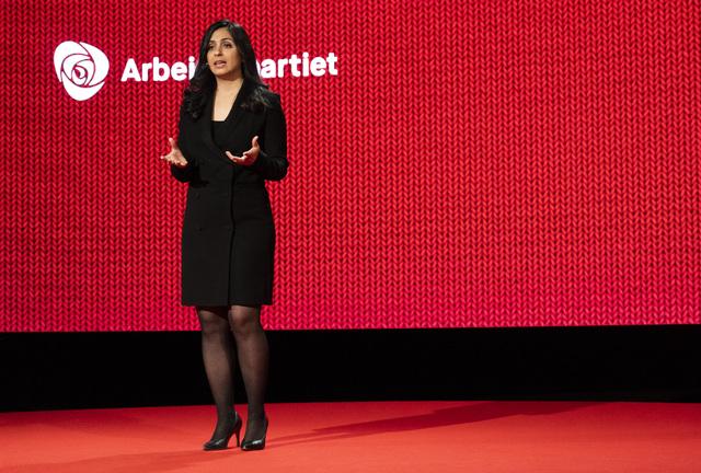 Nestleder Hadia Tajik på Arbeiderpartiets landsmøte i Oslo