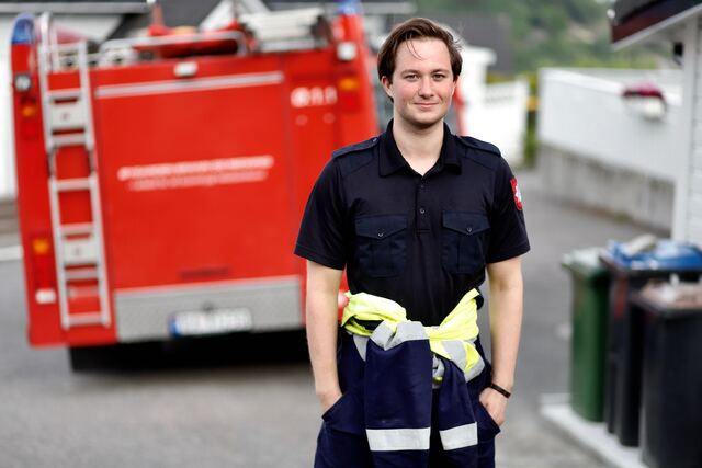 Kent Gjesvik har akkurat begynt i jobben i brannvesenet.
