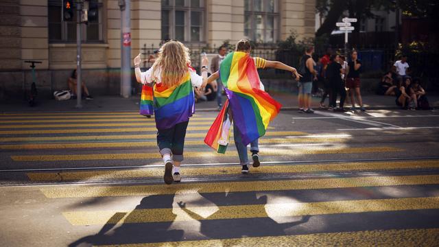 Sveits stemmer søndag over om landet skal innføre likekjønnet ekteskap. Her fra Pride-paraden i Zürich i starten av september.
