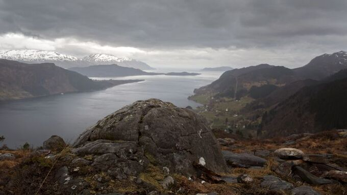 Utsikt fra Engebøfjellet til Førdefjorden