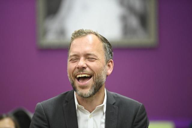 Partileder Audun Lysbakken på SVs landsstyrmøte på Thon Hotel Opera i Oslo lørdag. Foto: Annika Byrde / NTB