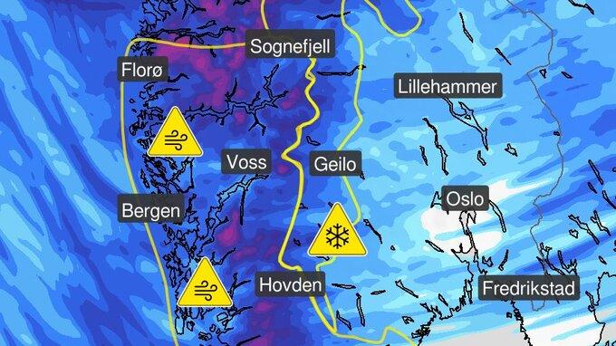 Kartet viser hvor det er varslet kraftige vindkast torsdag.