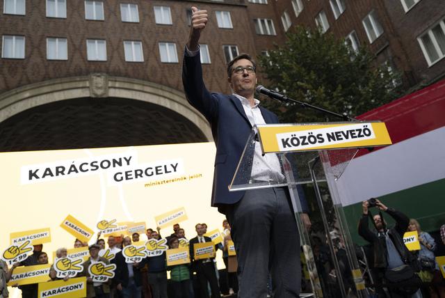 Budapest-ordfører Gergely Karácsony er en av favorittene til å vinne opposisjonens primærvalg i Ungarn. Foto: Bela Szandelszky / AP / NTB
