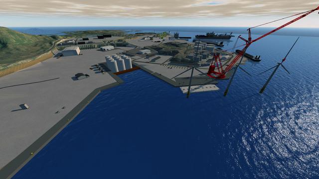 Illustrasjon av kaianlegget FM Strand skal bygge i Sløvåg, nord for Bergen