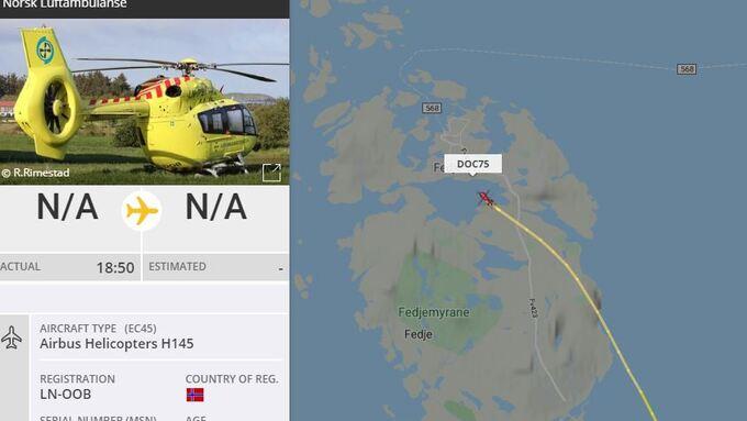 Luftambulanse på veg til å lande på Fedje ca 21.10.