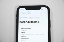 På Helse Norge sine nettsider ligger en foreløpig ikke verifiserbar versjon av korona-sertifikatet tilgjengelig. Foto: Stian Lysberg Solum / NTB