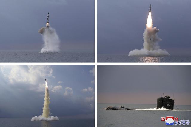 Nordkoreanske myndigheter sendte onsdag ut disse bildene fra tirsdagens rakettest. Foto: Korean Central News Agency / Korea News Service via AP / NTB