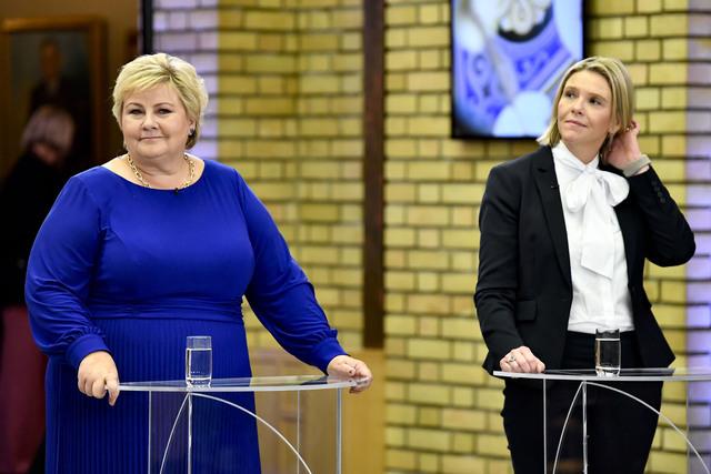 Statsminister og Høyre-leder Erna Solberg og Frp-leder Sylvi Listhaug.