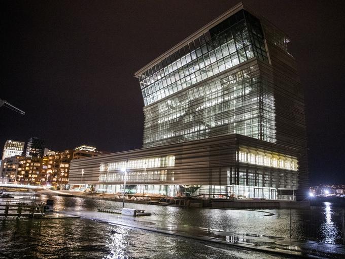 Det nye Munchmuseet, Lambda,lå plutselig i vannkanten da vannet i Oslo steg.