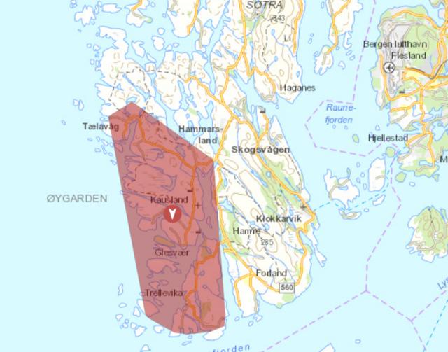 Det røde området er omfattet av strømbrudd.