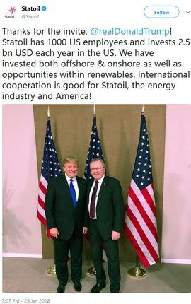 <p><b>TAKKET PÅ TWITTER</b>: Statoil takket USAs president på plattformen han tilsynelatende liket best, Twitter.</p>
